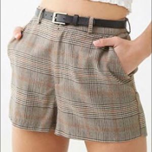 Belted Plaid Shorts from Forever 21